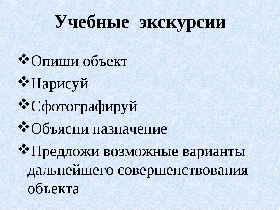 Учебные экскурсии Опиши объект Нарисуй Сфотографируй Объясни назначение Предл...