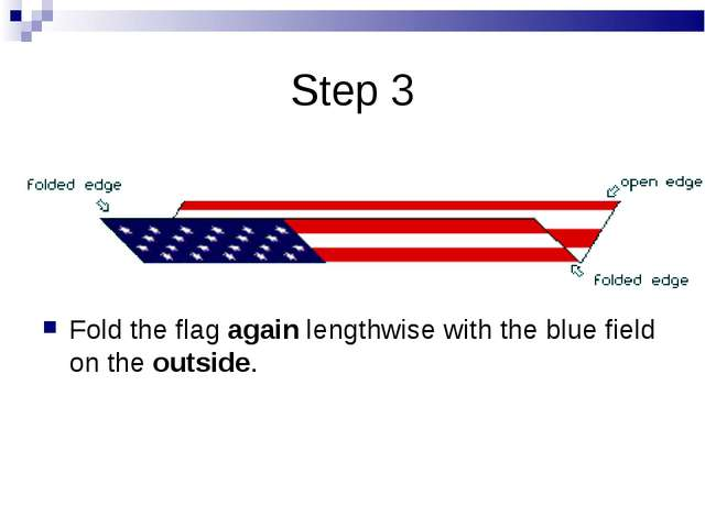 Step 3 Fold the flagagainlengthwise with the blue field on theoutside.