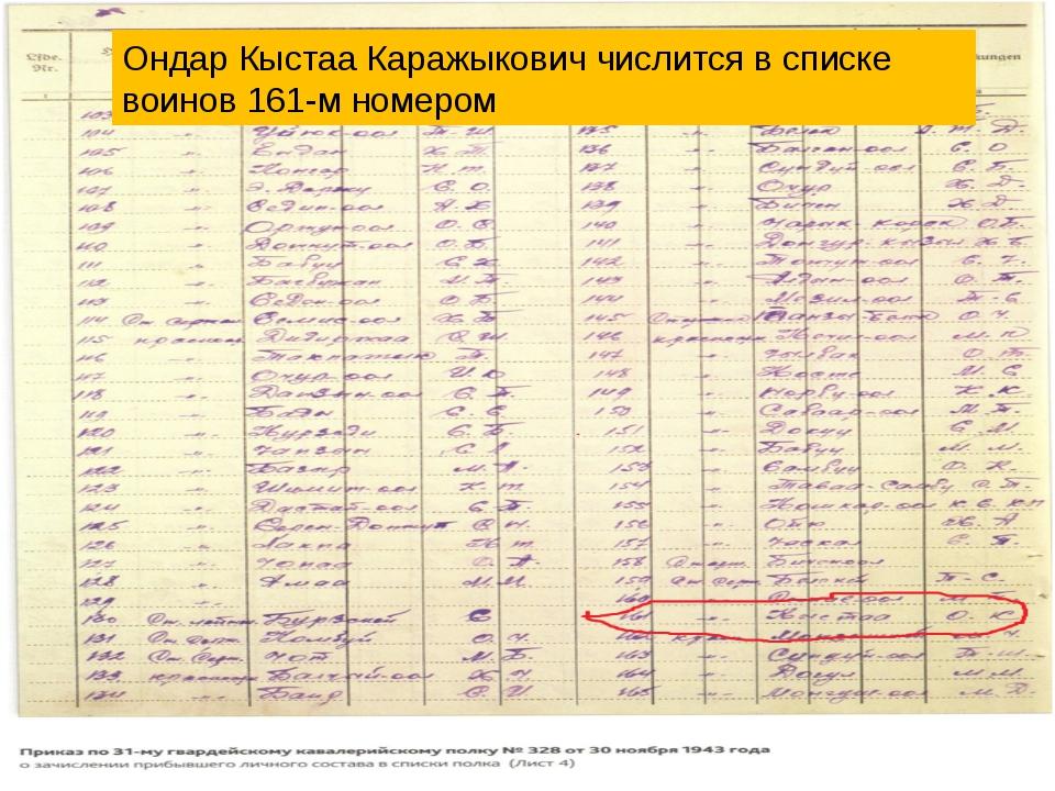 Ондар Кыстаа Каражыкович числится в списке воинов 161-м номером