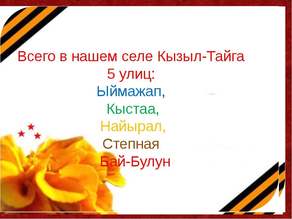 Всего в нашем селе Кызыл-Тайга 5 улиц: Ыймажап, Кыстаа, Найырал, Степная Бай-...