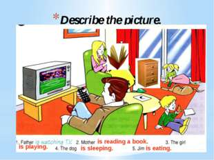 Describe the picture. is reading a book. is playing. is sleeping. is eating.