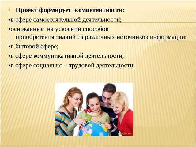 Проектформирует компетентности: •всфересамостоятельнойдеятельности; •осн...