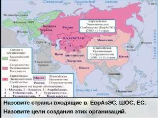 Назовите страны входящие в: ЕврАзЭС, ШОС, ЕС. Назовите цели создания этих орг