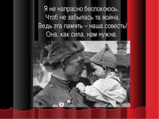 Я не напрасно беспокоюсь, Чтоб не забылась та война, Ведь эта память – наша