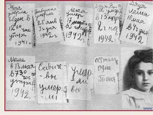 Страницы из блокнота Тани Савичевой. Рассказ о ней.