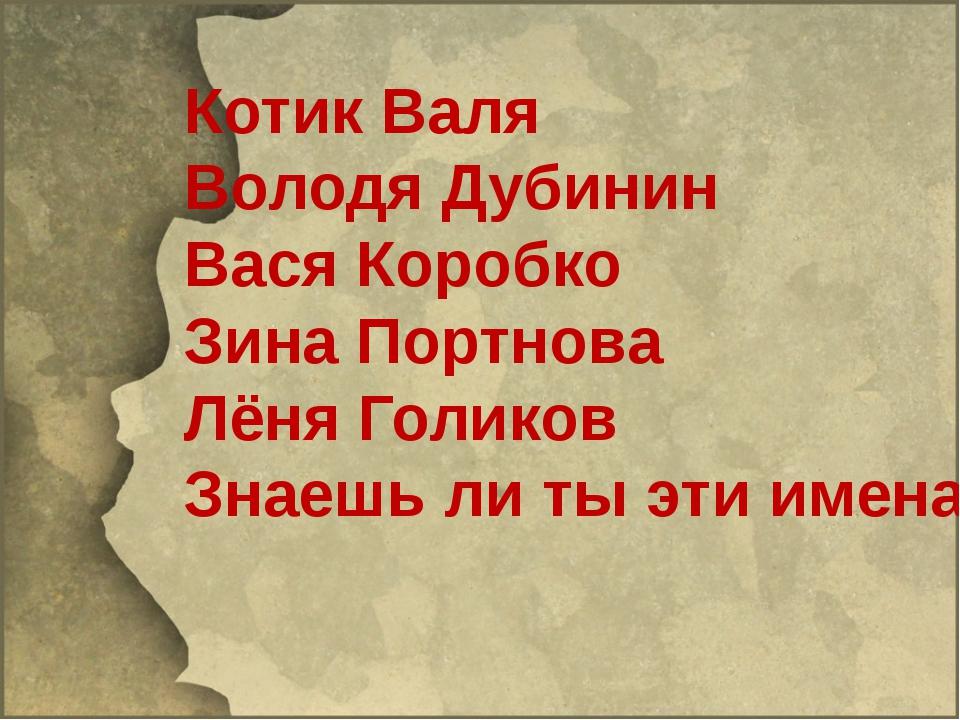 Котик Валя Володя Дубинин Вася Коробко Зина Портнова Лёня Голиков Знаешь ли...