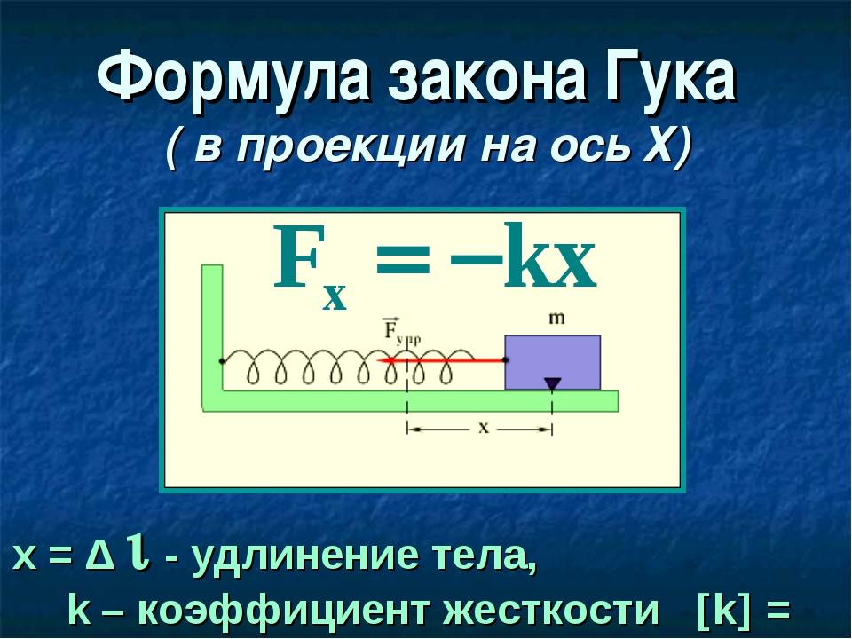 Формула закона Гука ( в проекции на ось Х) х = Δ  - удлинение тела, k – коэф...
