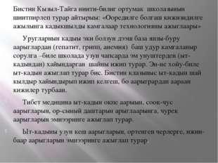 Бистин Кызыл-Тайга ниити-билиг ортумак школазынын шиитпирлеп турар айтырыы: «