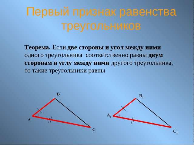 Первый признак равенства треугольников Теорема. Если две стороны и угол между...