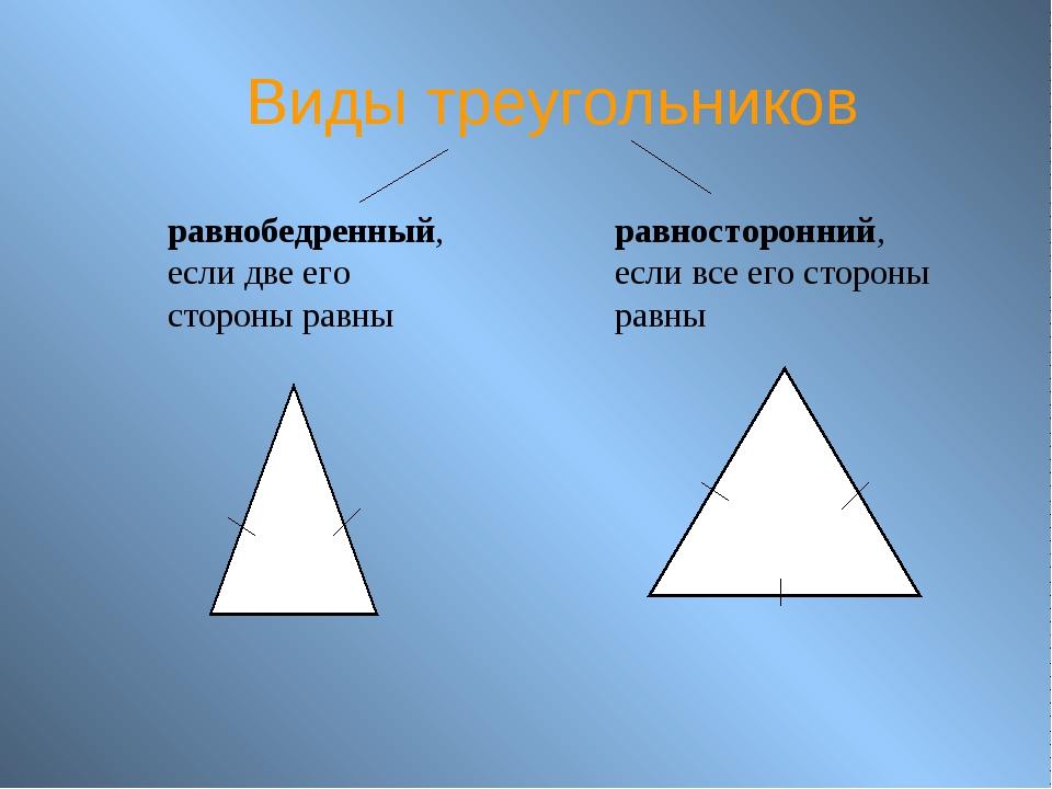 Виды треугольников равнобедренный, если две его стороны равны равносторонний,...