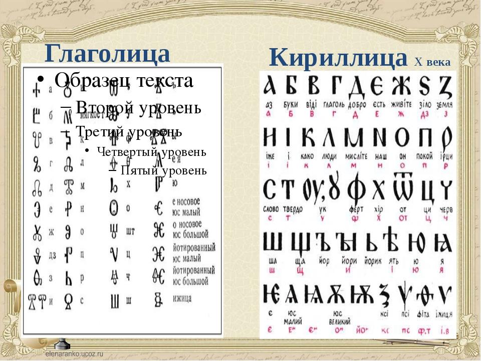 Глаголица Кириллица Х века