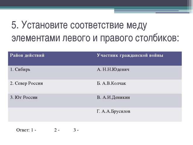 5. Установите соответствие меду элементами левого и правого столбиков: Ответ:...