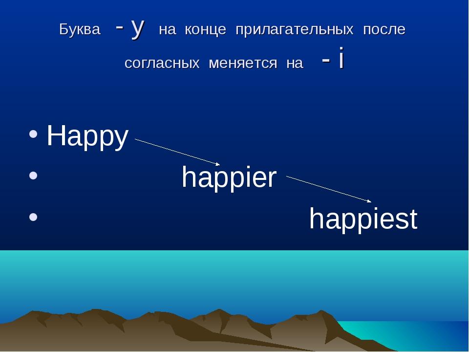Буква - y на конце прилагательных после согласных меняется на - i Happy happi...