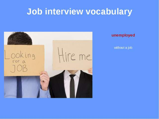 Job interview vocabulary employer someone you work for
