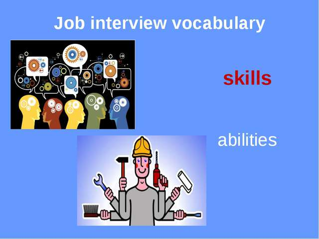 Job interview vocabulary stress mental tension