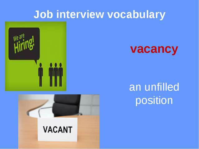 Job interview vocabulary CV curriculum vitae