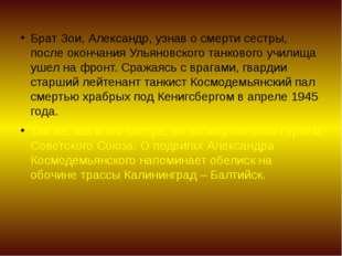 Брат Зои, Александр, узнав о смерти сестры, после окончания Ульяновского танк