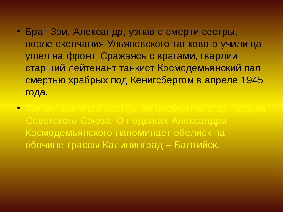Брат Зои, Александр, узнав о смерти сестры, после окончания Ульяновского танк...