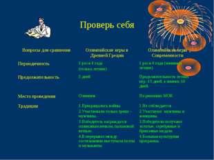 Проверь себя Вопросы для сравненияОлимпийские игры в Древней ГрецииОлимпийс