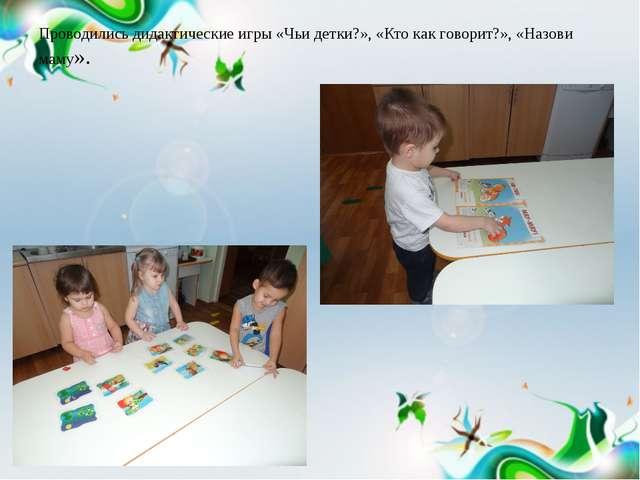 Проводились дидактические игры «Чьи детки?», «Кто как говорит?», «Назови маму».