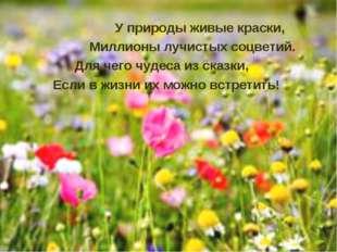 У природы живые краски, Миллионы лучистых соцветий. Для чего чудеса из сказк