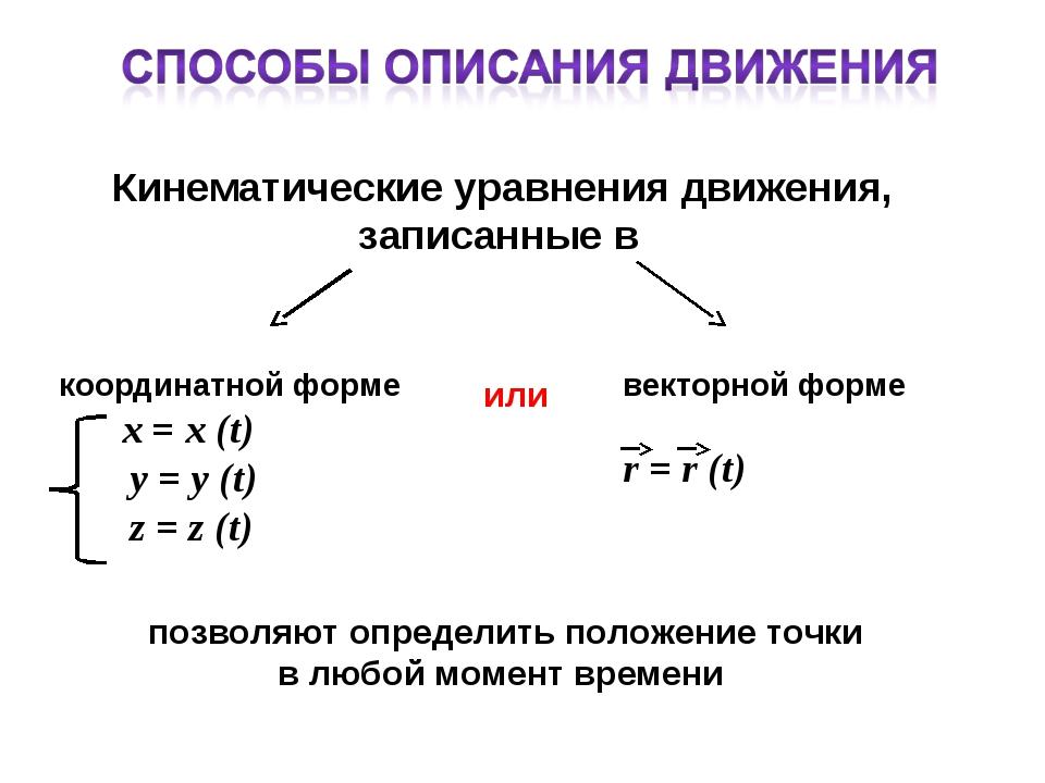 Кинематические уравнения движения, записанные в координатной форме x = х (t)...
