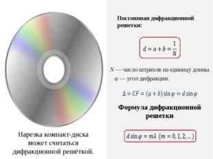 Формула дифракционной решетки Постоянная дифракционной решетки: N — число штр