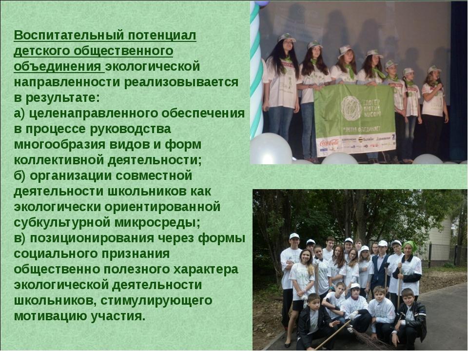 Воспитательный потенциал детского общественного объединения экологической нап...