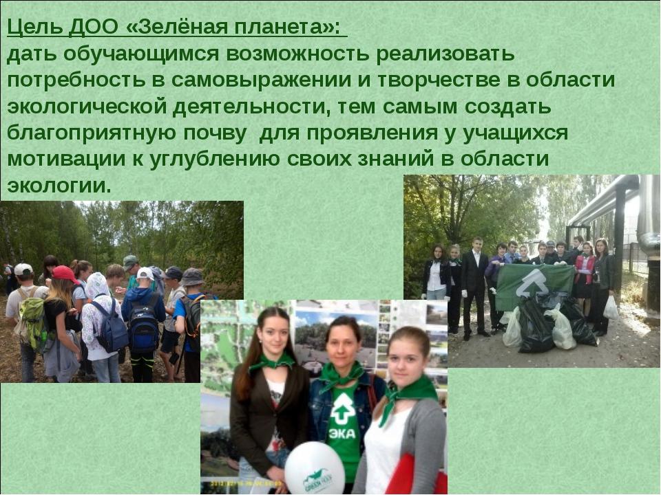 Цель ДОО «Зелёная планета»: дать обучающимся возможность реализовать потребно...
