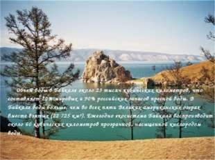 Объем воды в Байкале около 23 тысяч кубических километров, что составляет 20%
