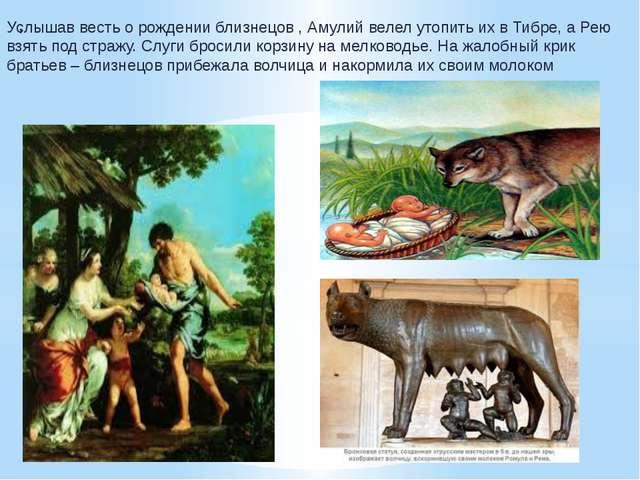 , Услышав весть о рождении близнецов , Амулий велел утопить их в Тибре, а Рею...