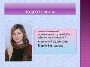 воспитатель младшей разновозрастной группы МБДОУ «Детский сад «Солнышко» с. К