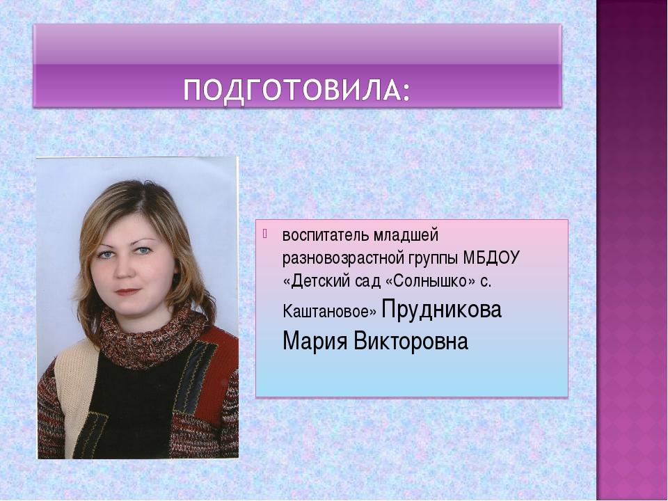 воспитатель младшей разновозрастной группы МБДОУ «Детский сад «Солнышко» с. К...
