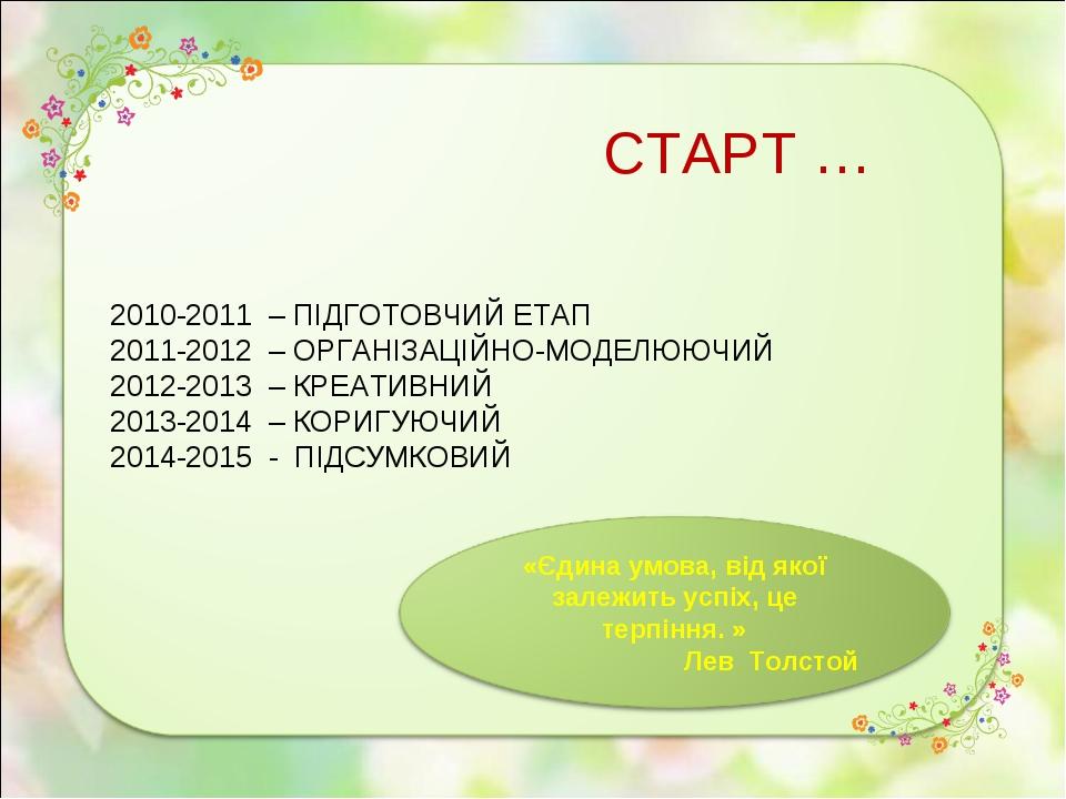 СТАРТ … 2010-2011 – ПІДГОТОВЧИЙ ЕТАП 2011-2012 – ОРГАНІЗАЦІЙНО-МОДЕЛЮЮЧИЙ 201...