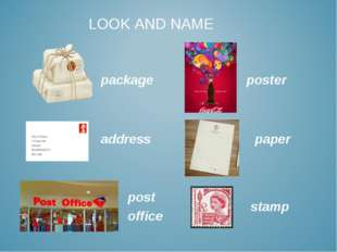 package address post office paper stamp poster LOOK AND NAME