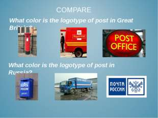 COMPARE What color is the logotype of post in Great Britain? What color is th