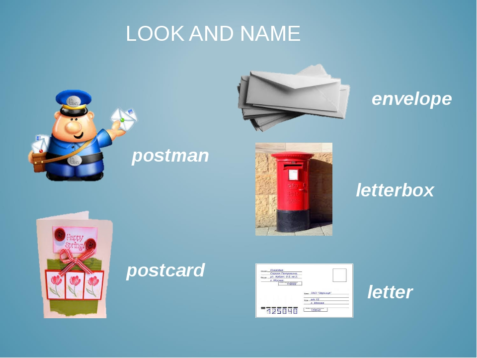 LOOK AND NAME postman letter envelope letterbox postcard