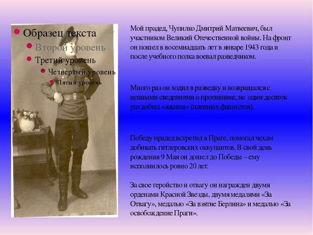 Мой прадед, Чупилко Дмитрий Матвеевич, был участником Великий Отечественной в...