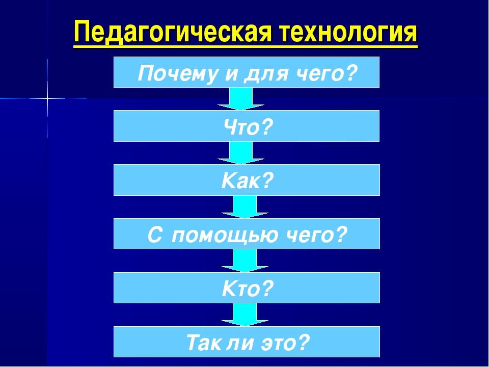Педагогическая технология Почему и для чего? Что? Как? С помощью чего? Кто? Т...