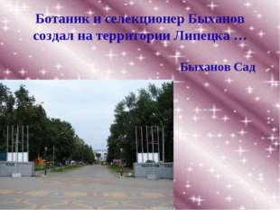 Ботаник и селекционер Быханов создал на территории Липецка … Быханов Сад