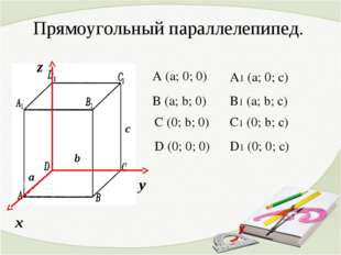 Прямоугольный параллелепипед. х у z D (0; 0; 0) A (a; 0; 0) C (0; b; 0) B (a;