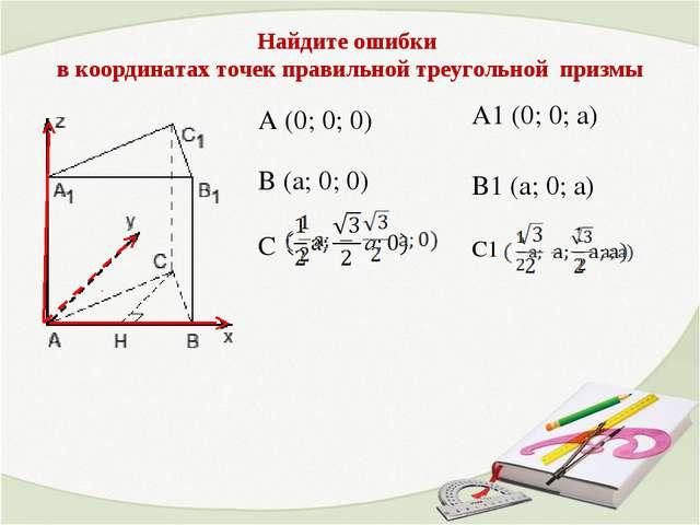 A (0; 0; 0) В (a; 0; 0) С A1 (0; 0; а) В1 (а; 0; а) С1 Найдите ошибки в коорд...