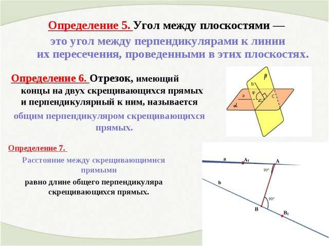 Определение 5. Угол между плоскостями— это угол между перпендикулярами клин...