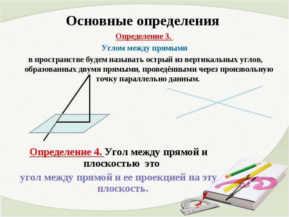 Основные определения Определение 3. Углом между прямыми в пространстве будем...