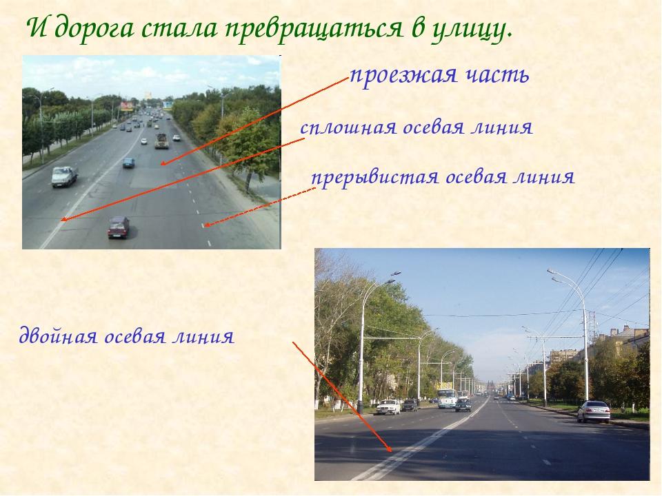 И дорога стала превращаться в улицу. проезжая часть сплошная осевая линия пре...