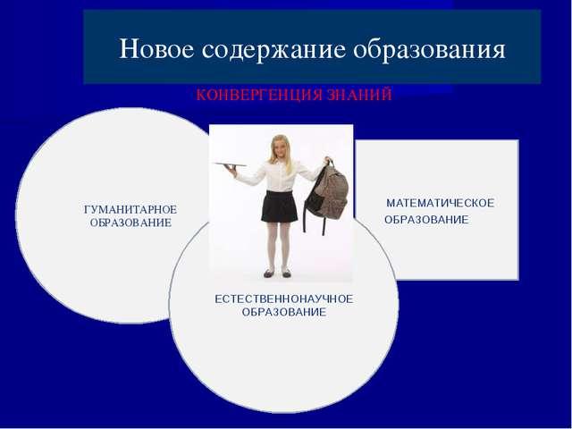 Новое содержание образования ГУМАНИТАРНОЕ ОБРАЗОВАНИЕ МАТЕМАТИЧЕСКОЕ ОБРАЗОВА...