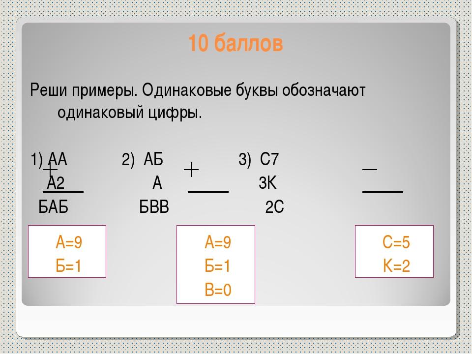 10 баллов Реши примеры. Одинаковые буквы обозначают одинаковый цифры. 1) АА 2...