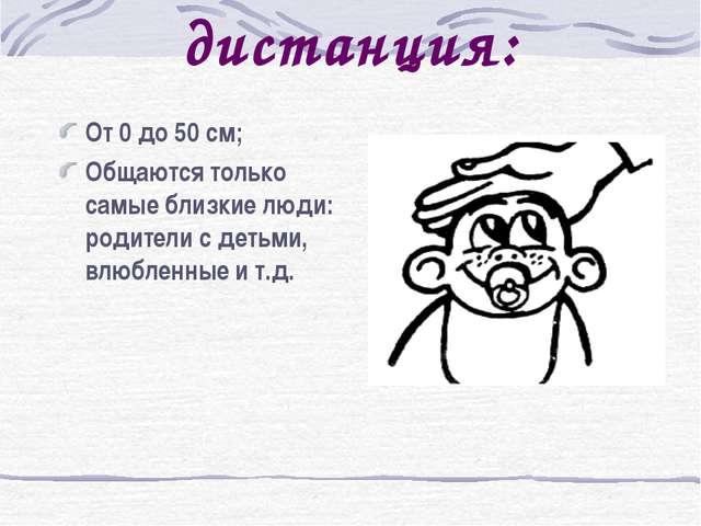 Интимная дистанция: От 0 до 50 см; Общаются только самые близкие люди: родите...