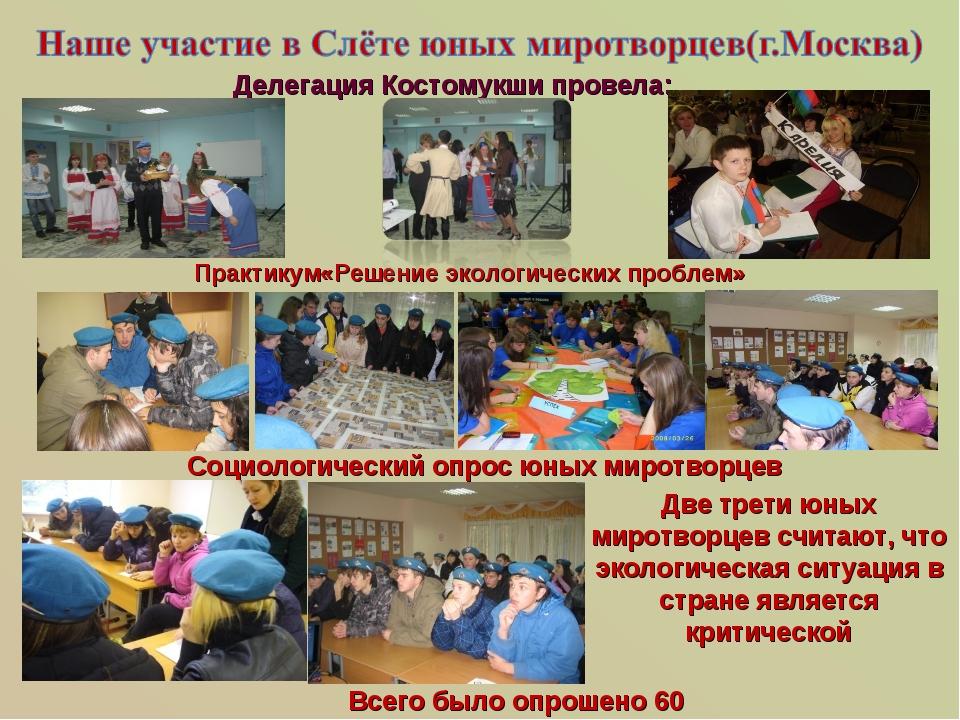 Практикум«Решение экологических проблем» Делегация Костомукши провела: Социо...
