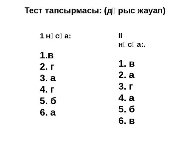 Тест тапсырмасы: (дұрыс жауап) 1 нұсқа: 1.в 2. г 3. а 4. г 5. б 6. а II нұсқа...
